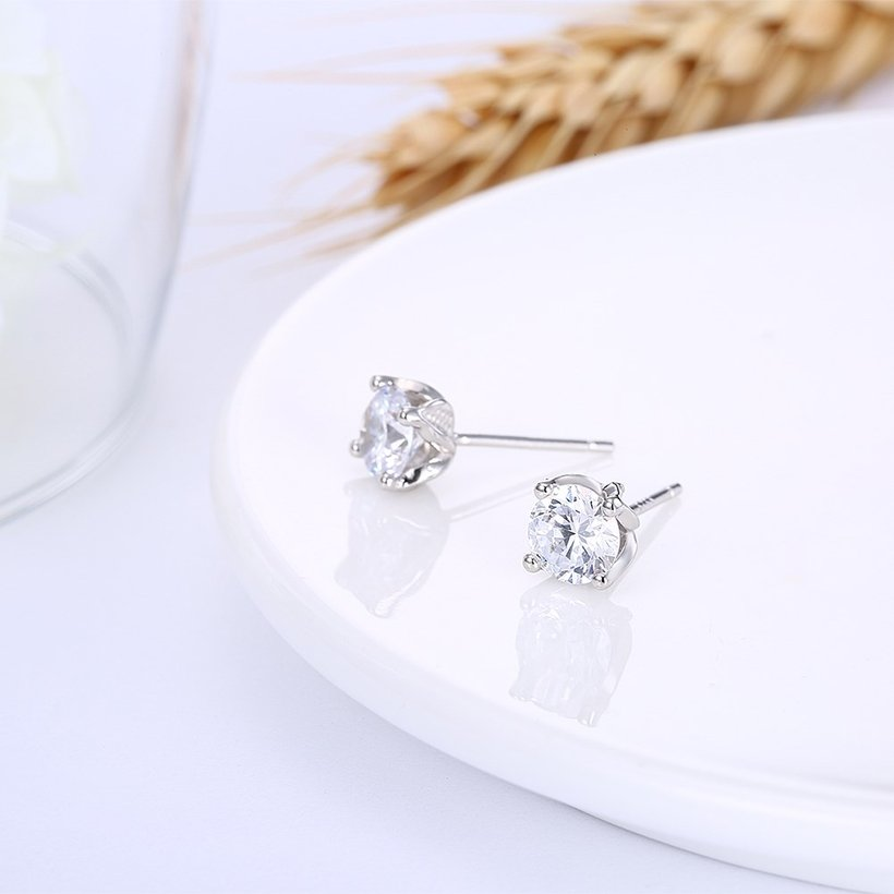 Wholesale Simple Fashion AAA Zircon Crystal Round Small Stud Earrings Wedding 925 Sterling Silver Earring for Women Girls Jewelry Gift TGSLE109 3