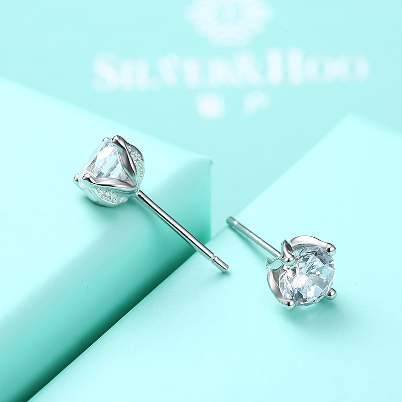 Wholesale Simple Fashion AAA Zircon Crystal Round Small Stud Earrings Wedding 925 Sterling Silver Earring for Women Girls Jewelry Gift TGSLE109 4