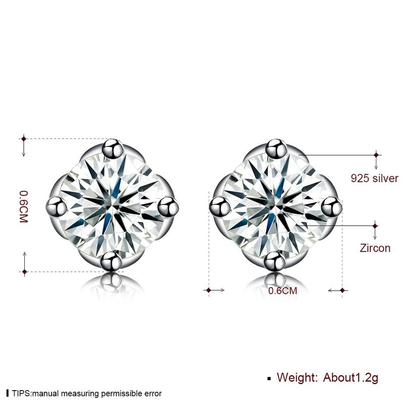 Wholesale Simple Fashion AAA Zircon Crystal Round Small Stud Earrings Wedding 925 Sterling Silver Earring for Women Girls Jewelry Gift TGSLE109 5