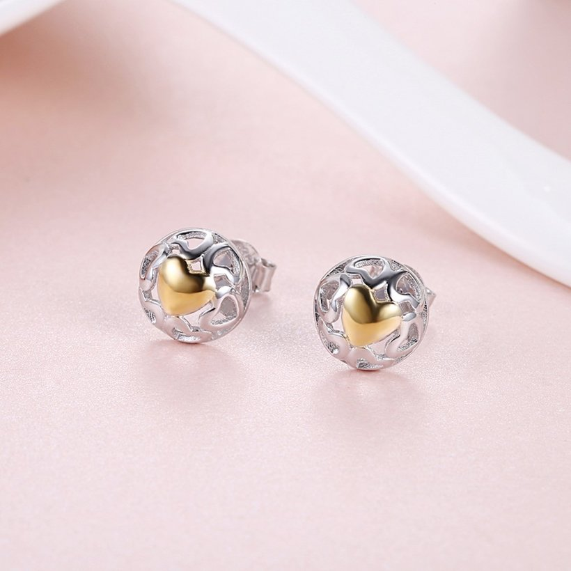 Wholesale Romantic delicate Female hollow out Small Stud Earrings Real 925 Sterling Silver gold heart Earrings Wedding jewelry TGSLE035 1