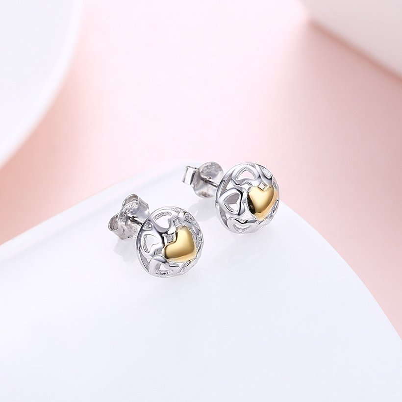 Wholesale Romantic delicate Female hollow out Small Stud Earrings Real 925 Sterling Silver gold heart Earrings Wedding jewelry TGSLE035 2