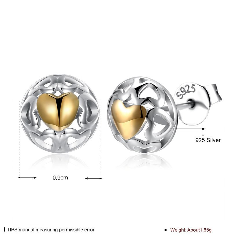 Wholesale Romantic delicate Female hollow out Small Stud Earrings Real 925 Sterling Silver gold heart Earrings Wedding jewelry TGSLE035 3