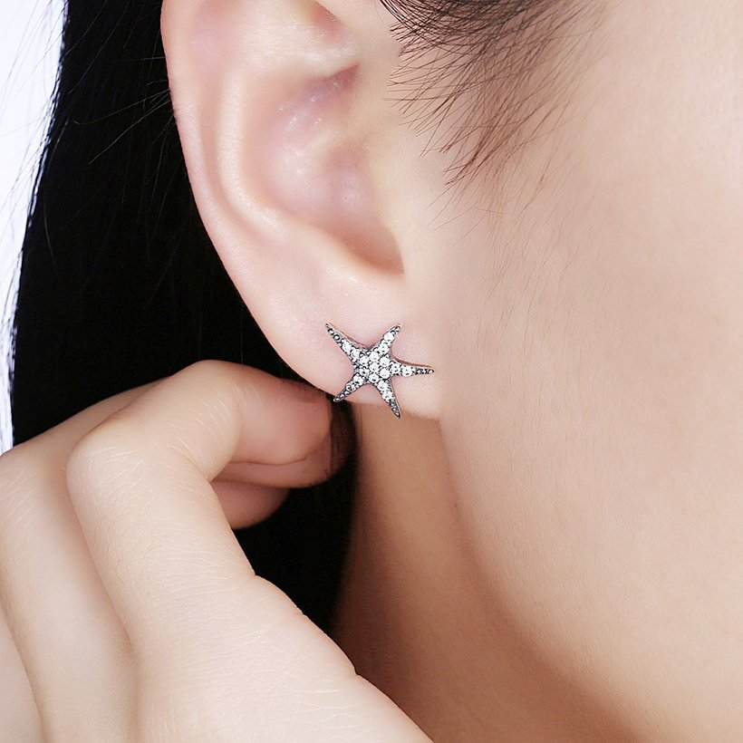 Wholesale Vintage New Fashion Anti-allergic 925 Sterling Silver Jewelry Micro-embedded Crystal Starfish Personality Exquisite Earrings TGSLE043 0