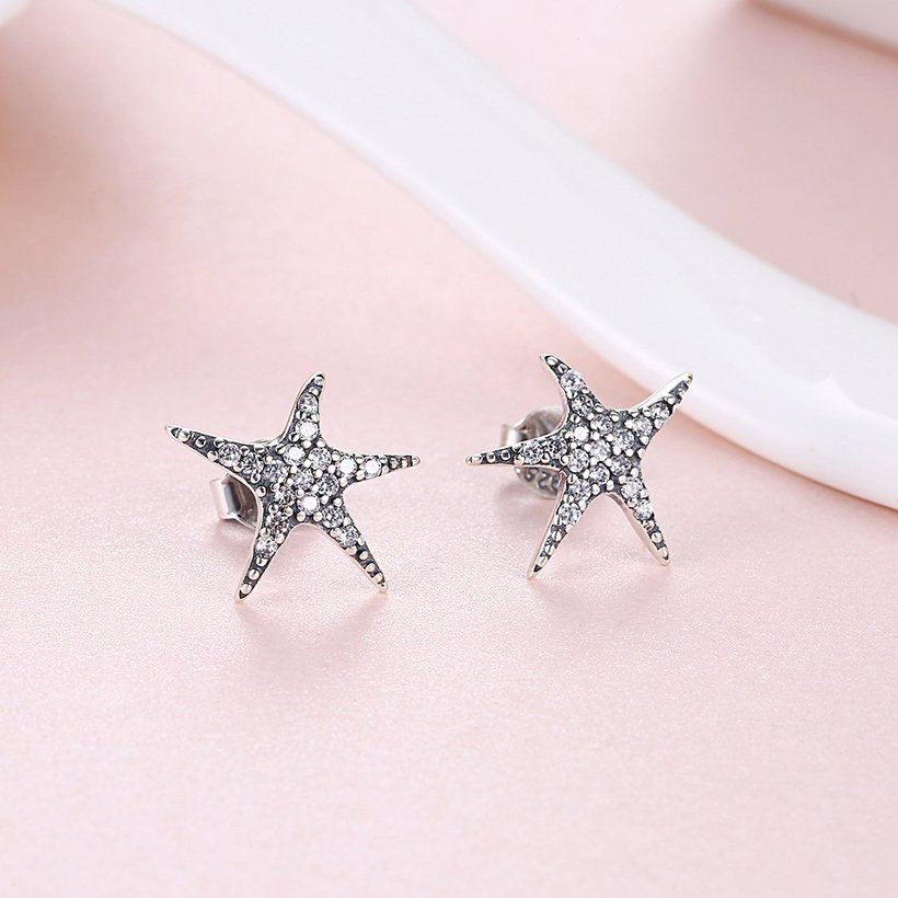 Wholesale Vintage New Fashion Anti-allergic 925 Sterling Silver Jewelry Micro-embedded Crystal Starfish Personality Exquisite Earrings TGSLE043 1