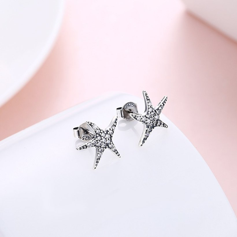 Wholesale Vintage New Fashion Anti-allergic 925 Sterling Silver Jewelry Micro-embedded Crystal Starfish Personality Exquisite Earrings TGSLE043 2