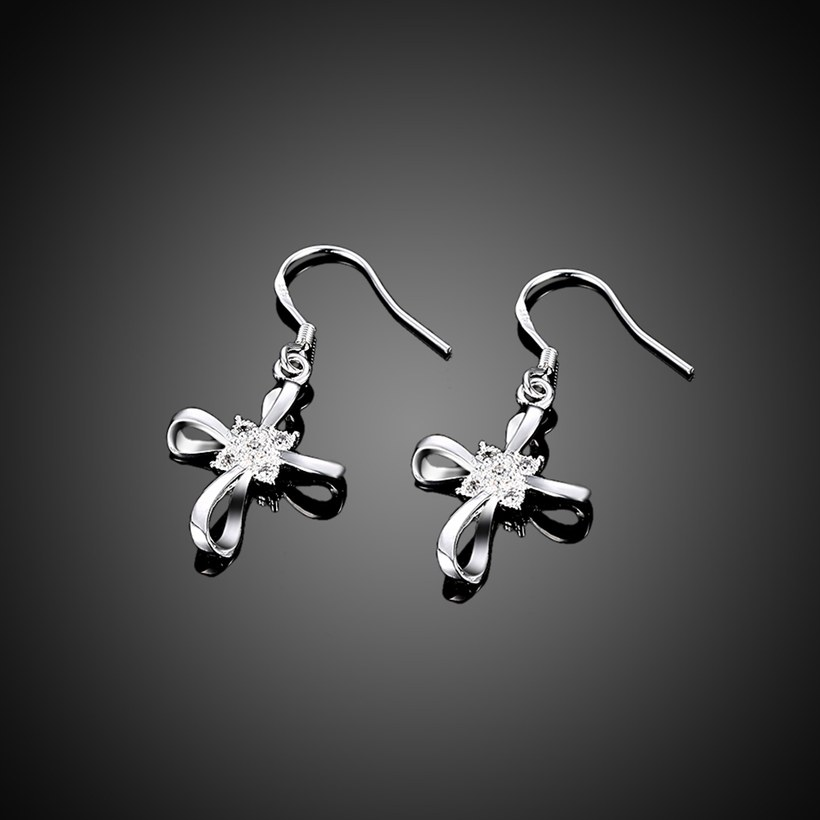 Wholesale Romantic Silver Bowknot White Dangle Earring Crystal Cross Dangle Earrings For Women New Trend Lady Fashion Jewelry  TGSPDE053 1