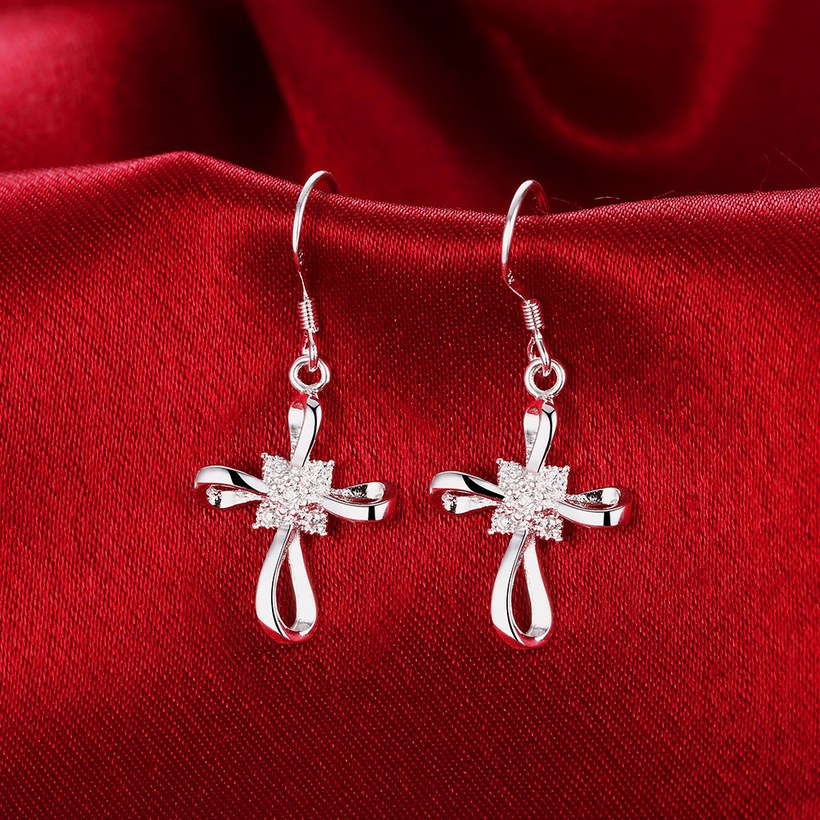 Wholesale Romantic Silver Bowknot White Dangle Earring Crystal Cross Dangle Earrings For Women New Trend Lady Fashion Jewelry  TGSPDE053 2