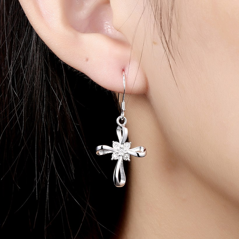Wholesale Romantic Silver Bowknot White Dangle Earring Crystal Cross Dangle Earrings For Women New Trend Lady Fashion Jewelry  TGSPDE053 3