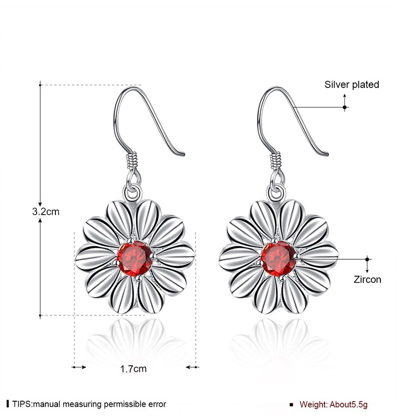 Wholesale Trendy Silver Plated red CZ Dangle Earring Purity Little Daisy Stud Earrings For Women wholesale jewelry  TGSPDE059 0