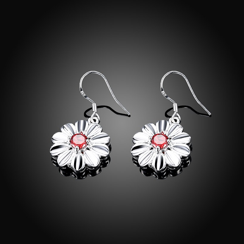 Wholesale Trendy Silver Plated red CZ Dangle Earring Purity Little Daisy Stud Earrings For Women wholesale jewelry  TGSPDE059 1