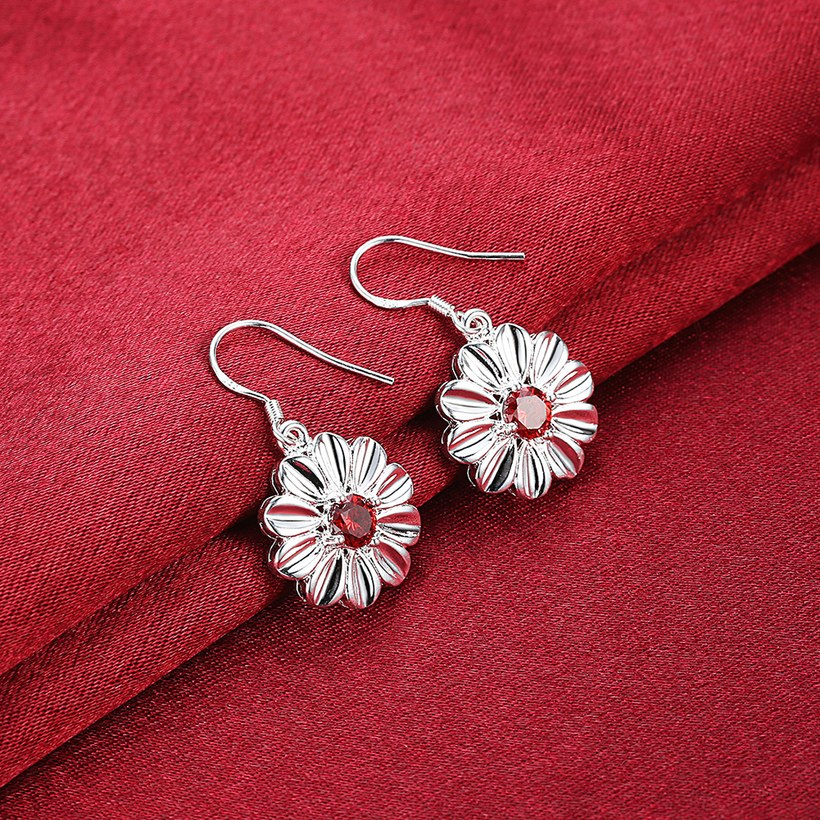 Wholesale Trendy Silver Plated red CZ Dangle Earring Purity Little Daisy Stud Earrings For Women wholesale jewelry  TGSPDE059 2