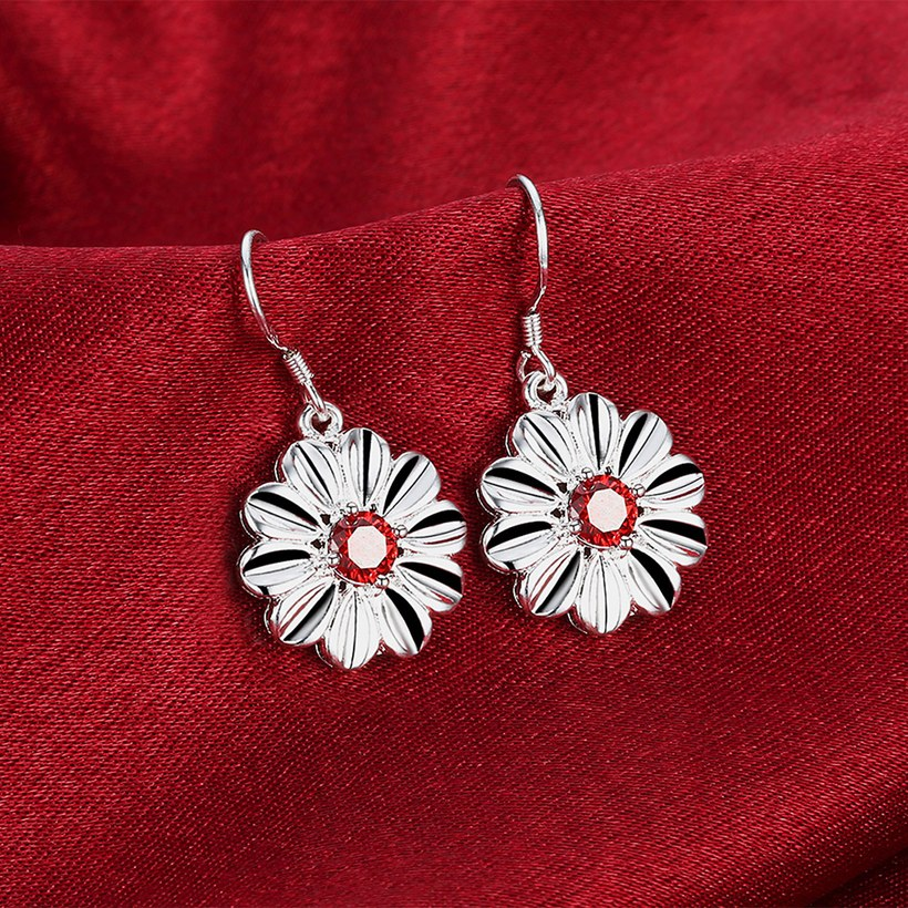 Wholesale Trendy Silver Plated red CZ Dangle Earring Purity Little Daisy Stud Earrings For Women wholesale jewelry  TGSPDE059 3