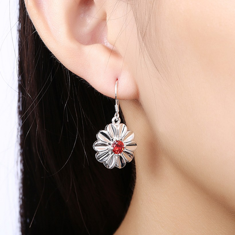 Wholesale Trendy Silver Plated red CZ Dangle Earring Purity Little Daisy Stud Earrings For Women wholesale jewelry  TGSPDE059 4