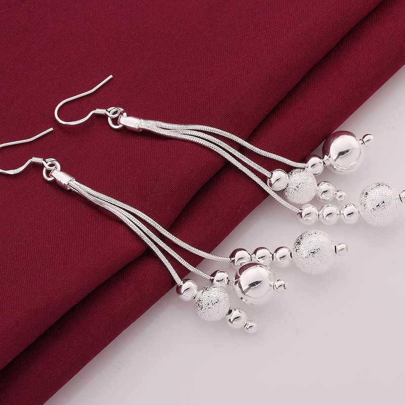 Wholesale Trendy Silver Water Drop Dangle Earring Three Line Bead Long Drop Earrings For Women Valentine'S Day Earring Jewelry Top Quality TGSPDE154 1