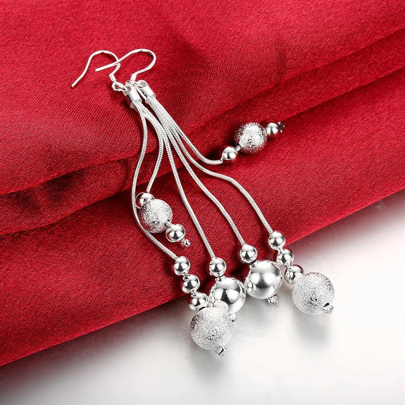 Wholesale Trendy Silver Water Drop Dangle Earring Three Line Bead Long Drop Earrings For Women Valentine'S Day Earring Jewelry Top Quality TGSPDE154 2