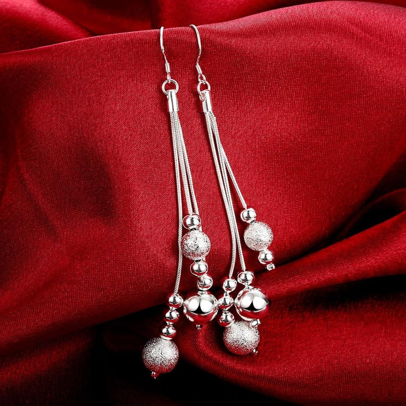 Wholesale Trendy Silver Water Drop Dangle Earring Three Line Bead Long Drop Earrings For Women Valentine'S Day Earring Jewelry Top Quality TGSPDE154 3