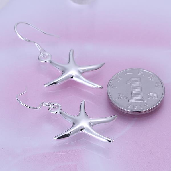 Wholesale Fashion jewelry from China Silver Sweet Smooth Surface Starfish Earrings For Women Wedding Jewelry Gift TGSPDE196 4