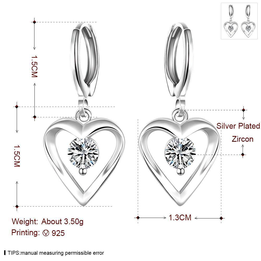 Wholesale Romantic Silver plated  Heart CZ Dangle Earring delicate wedding and daily collocation jewelry  TGSPDE094 0