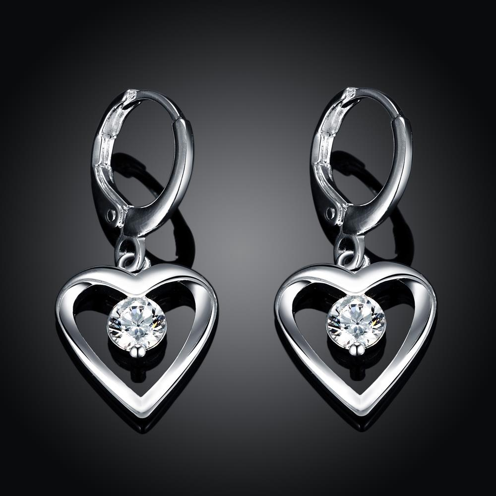 Wholesale Romantic Silver plated  Heart CZ Dangle Earring delicate wedding and daily collocation jewelry  TGSPDE094 1