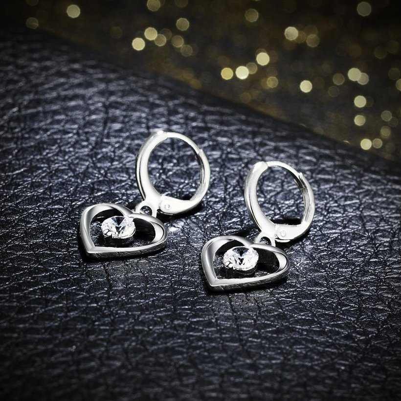 Wholesale Romantic Silver plated  Heart CZ Dangle Earring delicate wedding and daily collocation jewelry  TGSPDE094 2