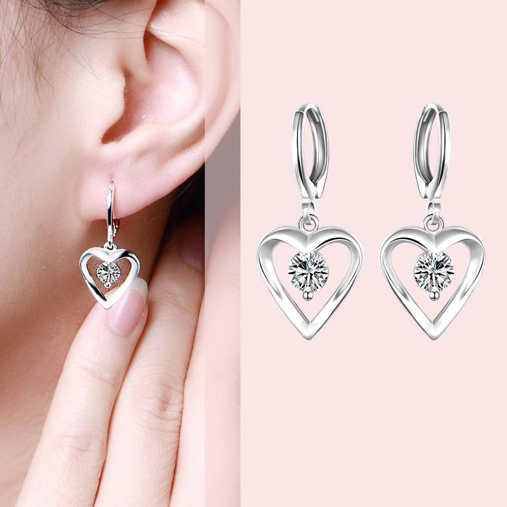 Wholesale Romantic Silver plated  Heart CZ Dangle Earring delicate wedding and daily collocation jewelry  TGSPDE094 3