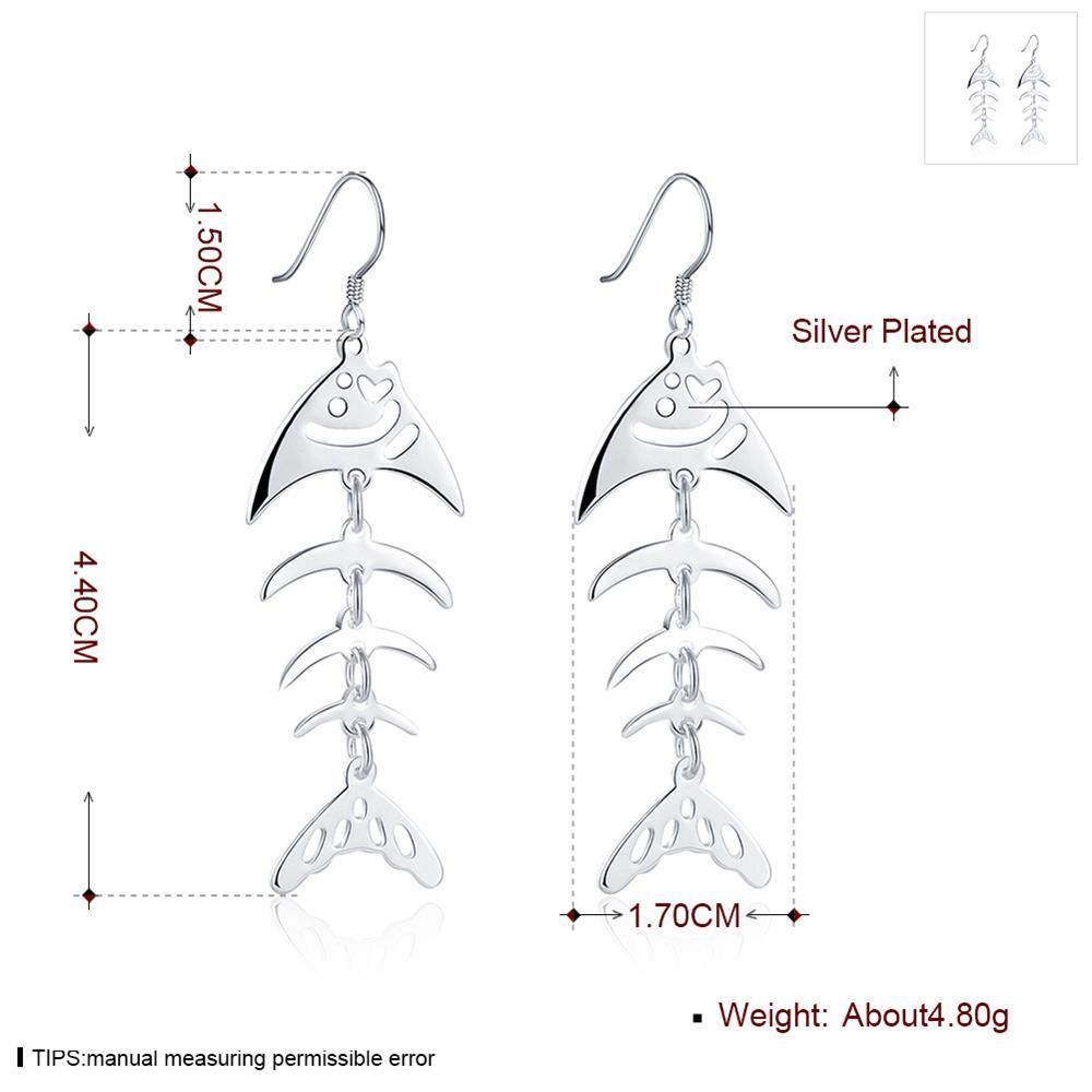 Wholesale Fashion Design Unique Silver Plated Fish Bones earring for Women Earrings Party Wedding Bride Simple Jewelry TGSPDE149 0