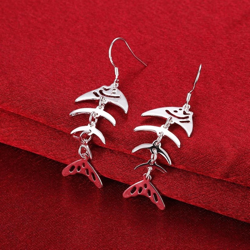 Wholesale Fashion Design Unique Silver Plated Fish Bones earring for Women Earrings Party Wedding Bride Simple Jewelry TGSPDE149 3