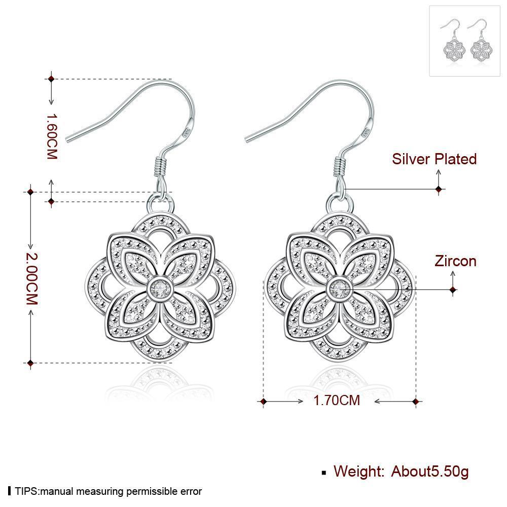Wholesale Classic Silver Plated flower CZ Dangle Earring New Trendy Circular Earring Drop For Women Anniversary Wedding Gift Jewelry TGSPDE028 0
