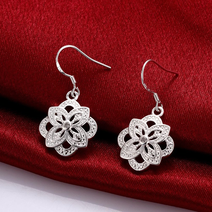 Wholesale Classic Silver Plated flower CZ Dangle Earring New Trendy Circular Earring Drop For Women Anniversary Wedding Gift Jewelry TGSPDE028 2