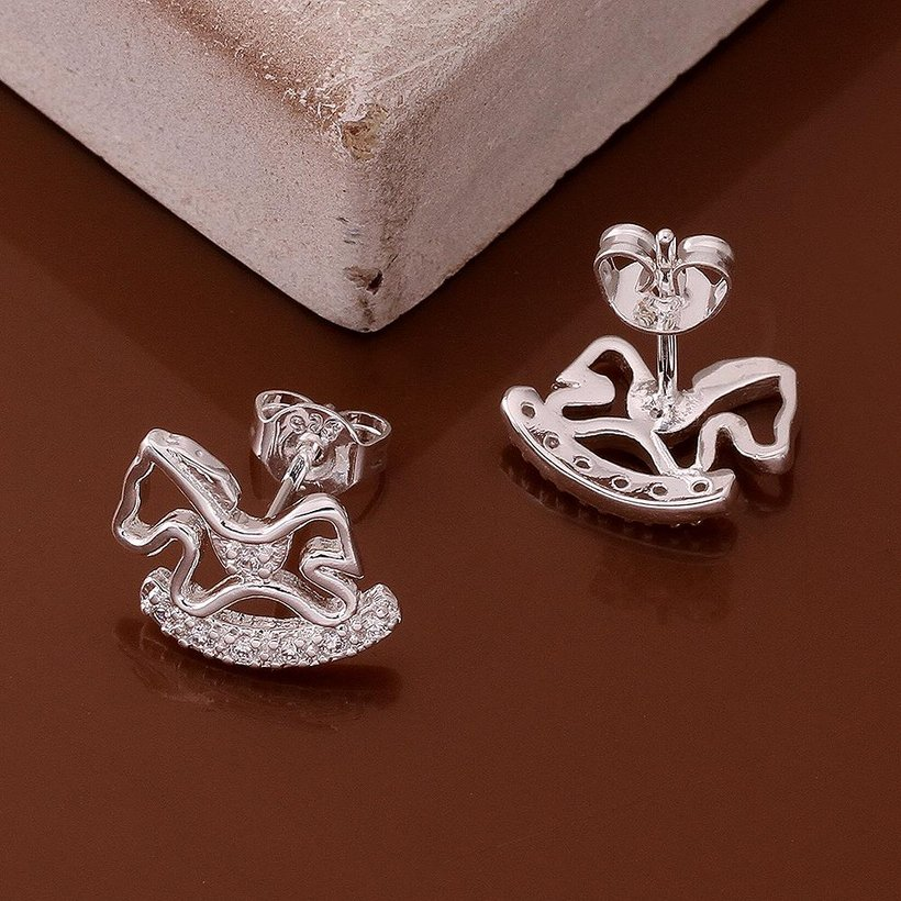 Wholesale Cute Horse CZ Crystal Silver plated earrings for Women Girls Wedding Party animal Accessory jewelry TGSPE059 0