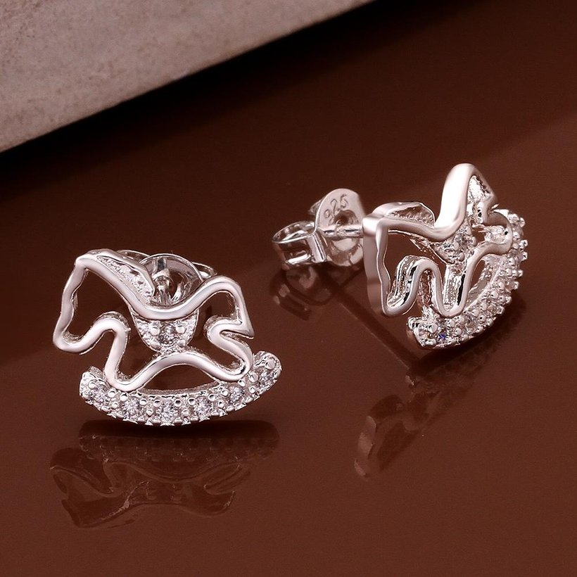 Wholesale Cute Horse CZ Crystal Silver plated earrings for Women Girls Wedding Party animal Accessory jewelry TGSPE059 1