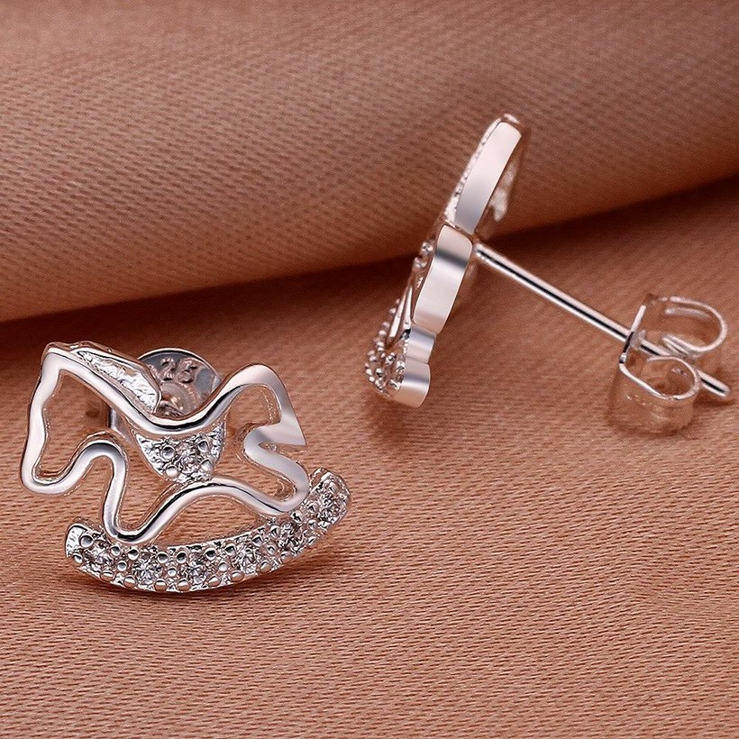 Wholesale Cute Horse CZ Crystal Silver plated earrings for Women Girls Wedding Party animal Accessory jewelry TGSPE059 2