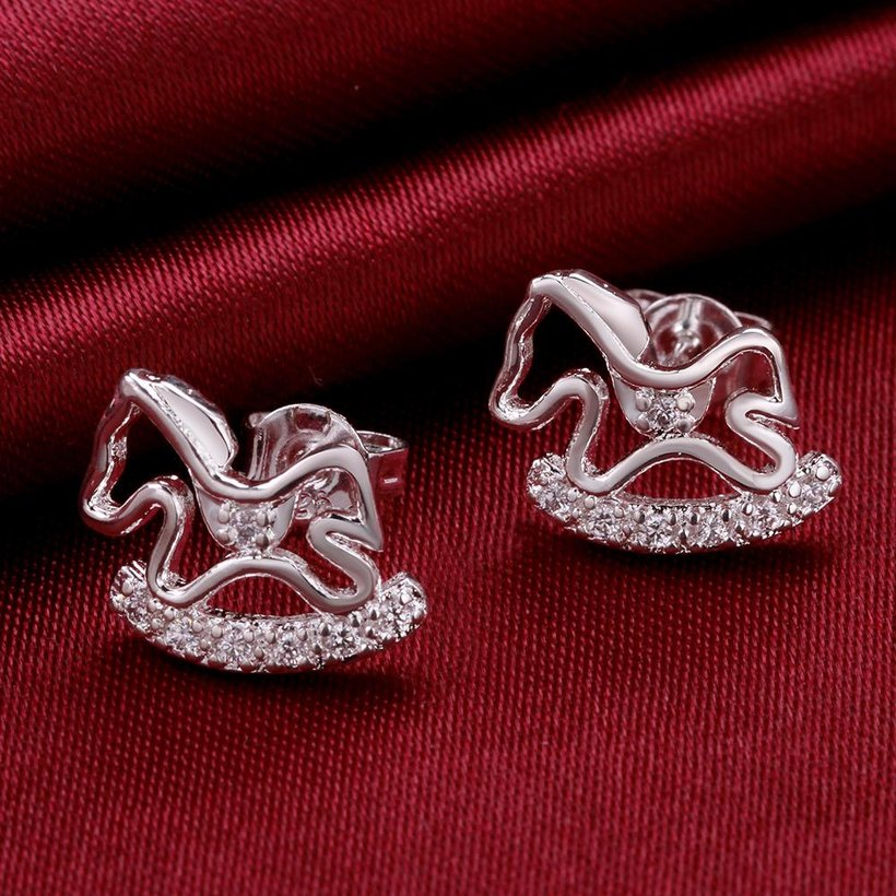 Wholesale Cute Horse CZ Crystal Silver plated earrings for Women Girls Wedding Party animal Accessory jewelry TGSPE059 3