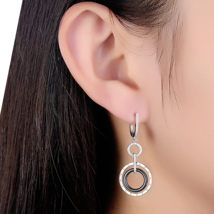 Wholesale Fashion 925 Sterling Silver Blace Round Ceramic Dangle Earring TGSLE174 0