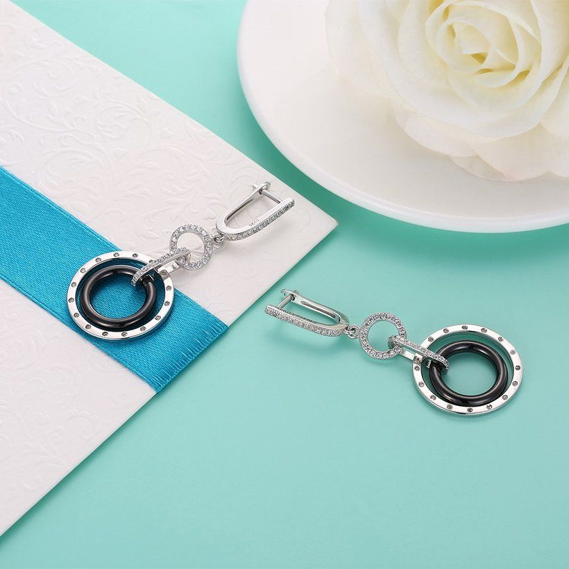 Wholesale Fashion 925 Sterling Silver Blace Round Ceramic Dangle Earring TGSLE174 1