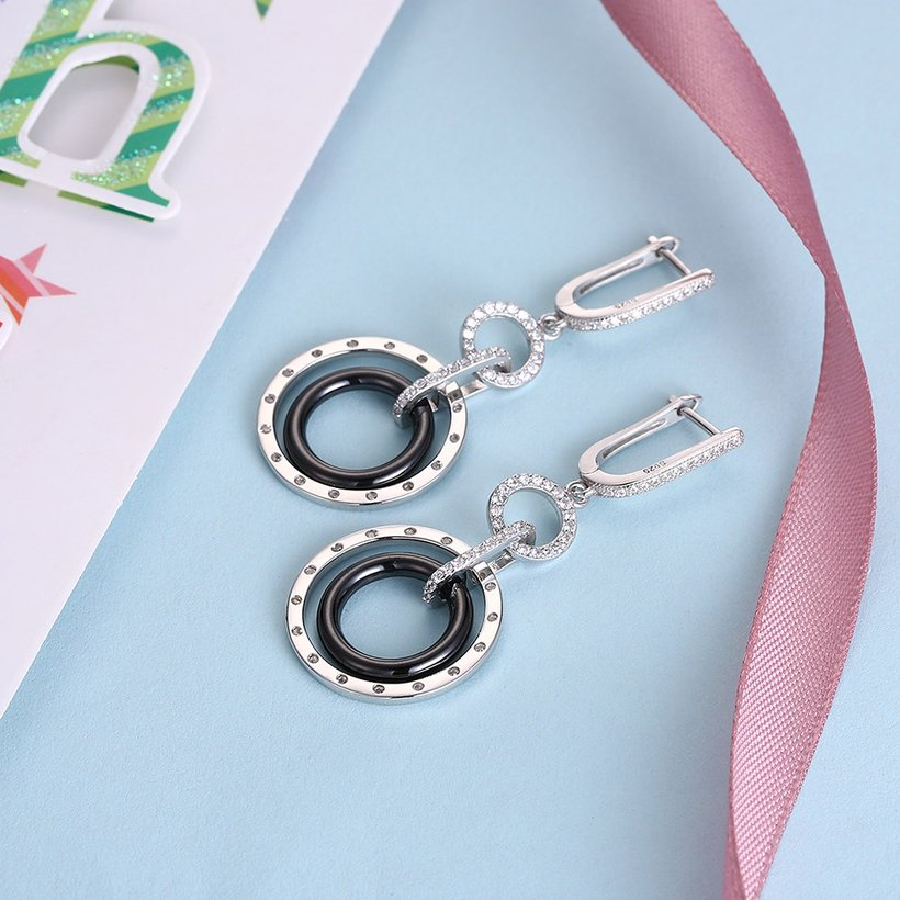 Wholesale Fashion 925 Sterling Silver Blace Round Ceramic Dangle Earring TGSLE174 2