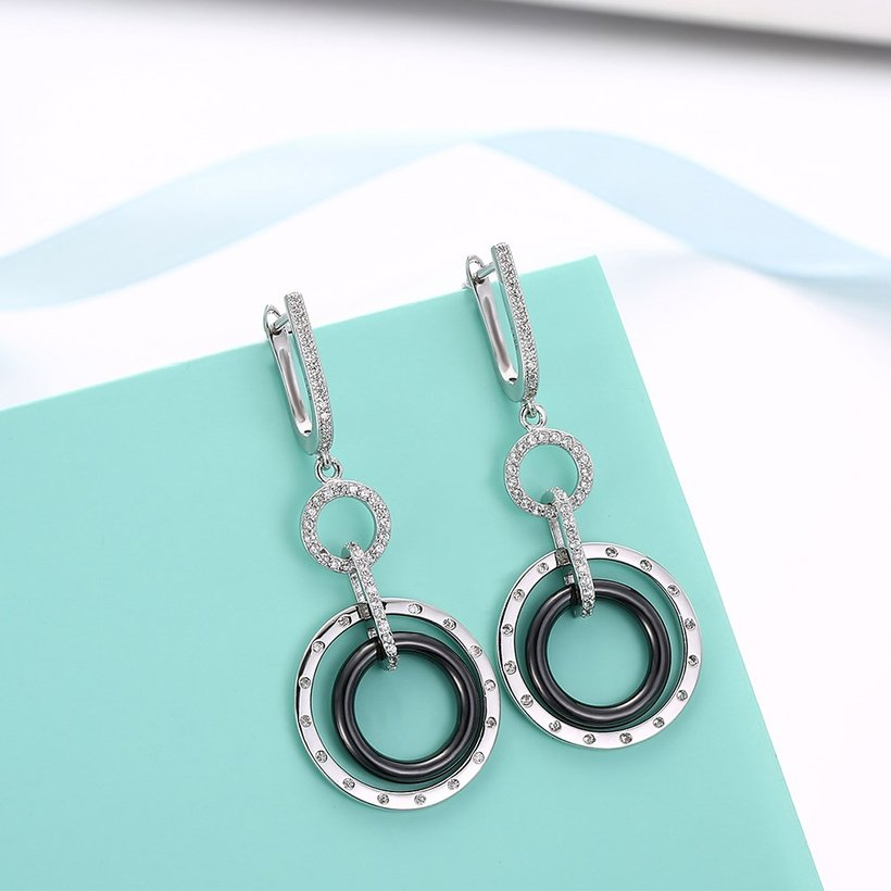 Wholesale Fashion 925 Sterling Silver Blace Round Ceramic Dangle Earring TGSLE174 3