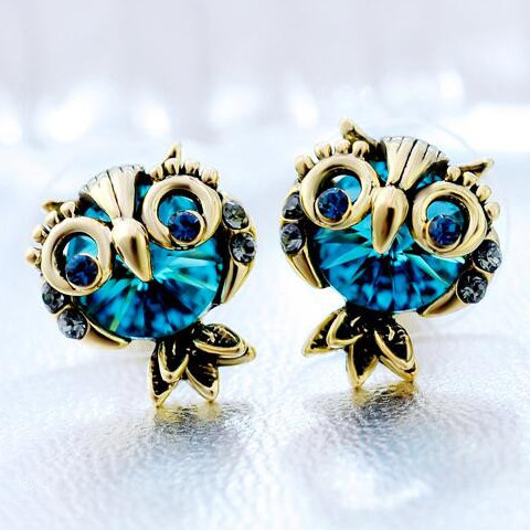 Wholesale Jewelry Crystal Owl Stud Earrings For Women Vintage Gold Color Animal Statement Earrings VGE036 0