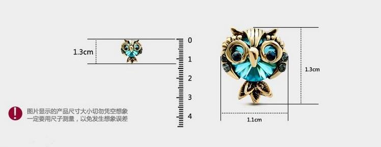 Wholesale Jewelry Crystal Owl Stud Earrings For Women Vintage Gold Color Animal Statement Earrings VGE036 1
