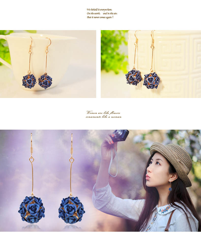 Wholesale New Fashion Lady  Rose Flower Earring  For Women Vintage Jewelry VGE037 0