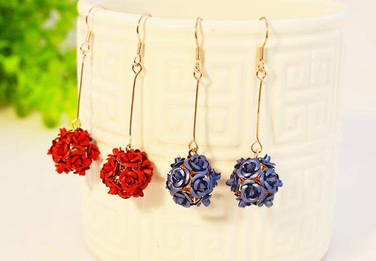 Wholesale New Fashion Lady  Rose Flower Earring  For Women Vintage Jewelry VGE037 1