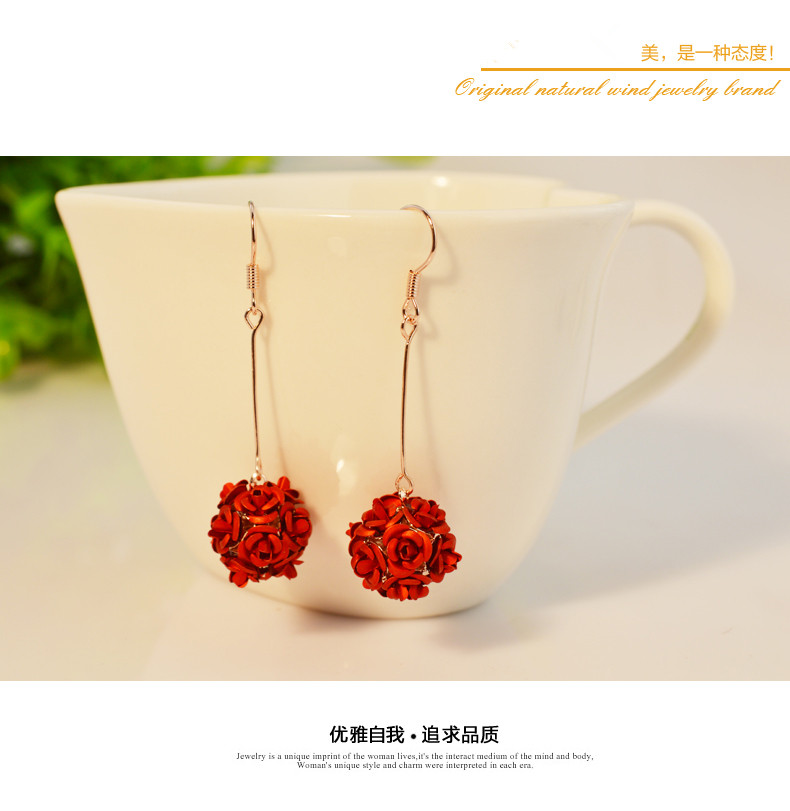 Wholesale New Fashion Lady  Rose Flower Earring  For Women Vintage Jewelry VGE037 2