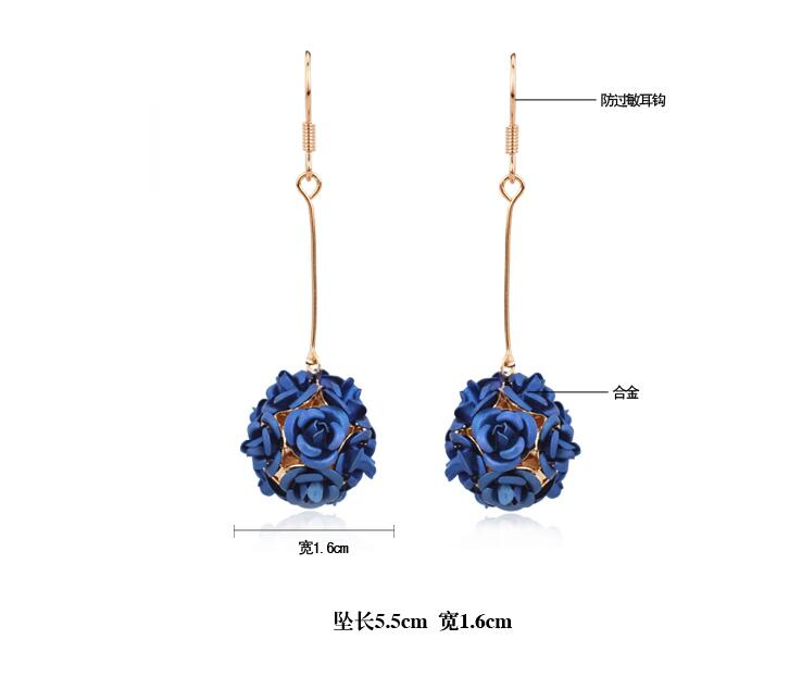 Wholesale New Fashion Lady  Rose Flower Earring  For Women Vintage Jewelry VGE037 3