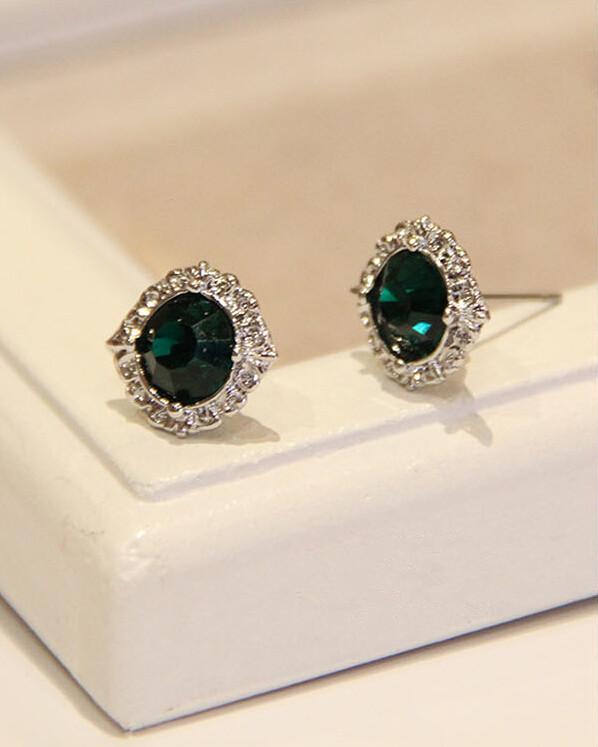 Wholesale Fashion Female Circle stud earrings synthetic emerald  Vintage Earrings Wedding jewelry For Women VGE038 0