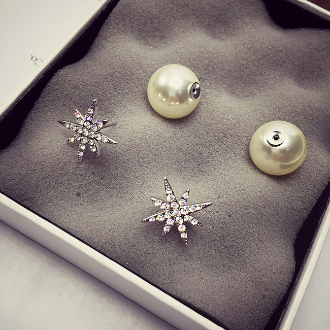 Wholesale New Fashion Simple Star Round Ball Pearl Stud Earrings For Women Wedding Jewelry Bridal Engagement Earrings Gifts VGE040 1