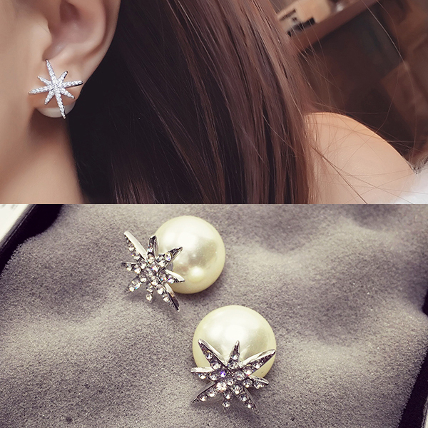 Wholesale New Fashion Simple Star Round Ball Pearl Stud Earrings For Women Wedding Jewelry Bridal Engagement Earrings Gifts VGE040 3