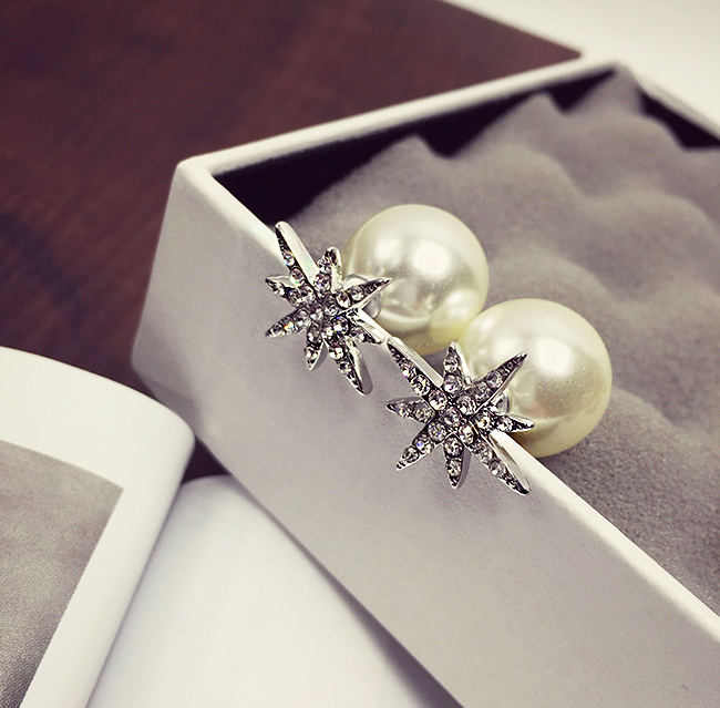 Wholesale New Fashion Simple Star Round Ball Pearl Stud Earrings For Women Wedding Jewelry Bridal Engagement Earrings Gifts VGE040 4