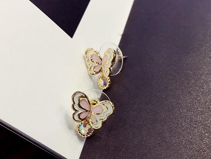 Wholesale Sweet pink  Butterfly Stud Earrings Delicate Gold Color Mini Ear Studs Trendy Ear Nails For Women Girls Jewelry Gift VGE046 2
