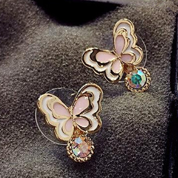 Wholesale Sweet pink  Butterfly Stud Earrings Delicate Gold Color Mini Ear Studs Trendy Ear Nails For Women Girls Jewelry Gift VGE046 4