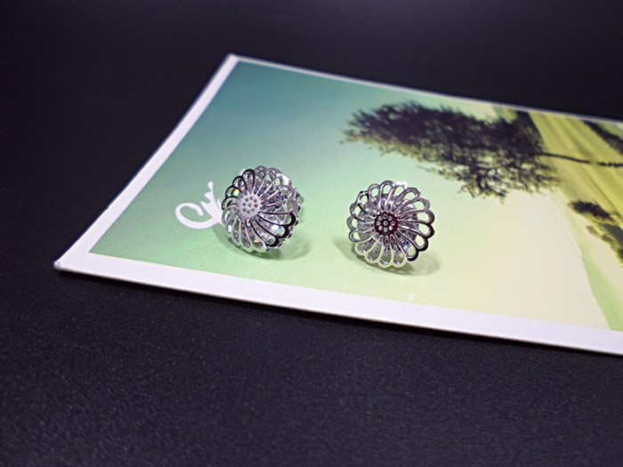 Wholesale New Arrival Jewelry hollowed-out  Flower Zircon Crystal Stud Earrings for Women Girl VGE047 1